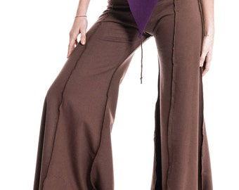 HIPPIE FLOW PANTS, psy trance trousers, extra wide flares, hippy flare pants, dance trousers, pixie clothing, goa tribal wear, brown flares