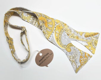 Freestyle Yellow and Grey Paisley Bow Tie - Yellow and Grey Bow Tie - Self-Tie Bow Tie - Yellow Bow Tie - Buttery Yellow Bow Tie
