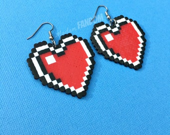 Zelda Earrings, Zelda Heart Container Statement Earrings, Large Lightweight Surgical Steel, Video Game Earrings