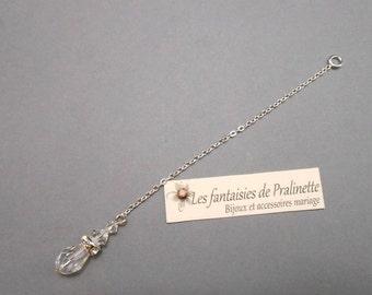 Bijoux mariage de dos en chaine et cristal, pendentif mariage de dos strass, accessoires mariées - Bridal jewelry backdrop necklace crystal