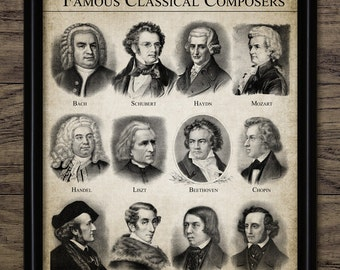 Classical Composers Print - Classical Music - Music Room Decor - Musician - Music Student Gift Idea - Single Print #1199 - INSTANT DOWNLOAD