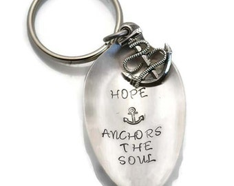 Stamped Spoon Key Chain, Hope Anchors the Soul Vintage Silverware Keychain Inspirational Gift Anchor Charm Key Ring Gifts Under 15