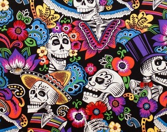 Dia de la Catrina - Folklorico; Fat Quarter, Half Yard, or By The Yard; Alexander Henry; 8279B; Quilt, Apparel, Decor