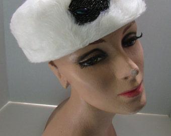 SALE! White Faux Fur Hat Mid Century Hat Pill Box Winter Hat Iridescent Beading Ladies Hats Vintage Hats Vintage Accessories