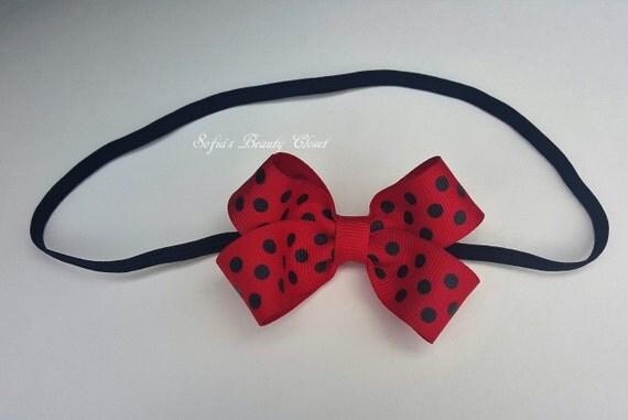 Knitting Ladybug Ladybird Headband : Ladybug bow headband lady bug by
