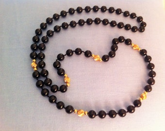 Vintage Onyx Necklace with 14K Gold Fluted Beads Classic Black Beads 36 inch Length