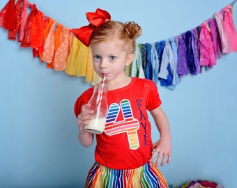 Girl Rainbow Birthday Shirt with Number and Embroidered Name
