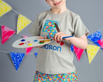 Boy's Artist Birthday Shirt with Paintbrush Number with Matching Shorts - F76