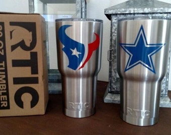 Rtic Tumbler with Pro/College Sports Team Vinyl Decal