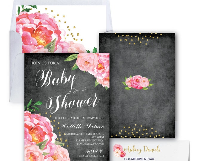 Baby Shower Invitation // Chalkboard // Peonies // Peony// Baby Sprinkle // Pink // Gold Glitter // BORDEAUX COLLECTION