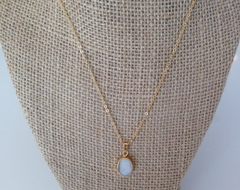 Dainty White Natural Druzy Pendant Necklace 14K Gold Filled // Boho Jewelry // Boho Luxe // Boho Necklace