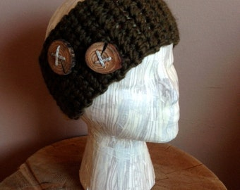 Headband with Wood Buttons