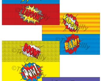 Superhero 4x11 Can Labels, Comic Book Labels, Party Supplies, Superhero Birthday, Comic Book Birthday, Labels Printable Instant download.