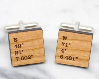 Coordinate Cufflinks, Custom Coordinates, Personalized Secret Message Cufflinks, Cuff Links with Co-ordinates, Square Coordinate Cufflinks