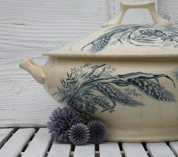 French antique blue transferware tureen, vintage French tureen, ironstone tureen, French shabby chic country home cottage chic rustic tureen