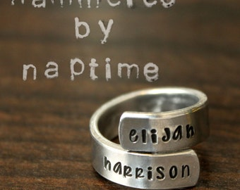 Customizable Wrap Ring - Personalize With Names, Dates or Phrase - Custom Jewelry - Hand Stamped Rings