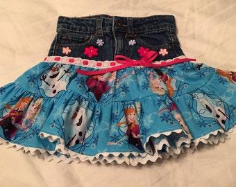 Embellished Jean Skirt - in chidlren's favorite fabric