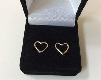 14K Gold Heart Earrings - Solid Gold Stud Earrings - .5 inch Solid Gold Open Heart Studs - Marked 14K