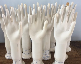 Many Available..Size 7 Right Hand Vintage Industrial Porcelain Glove Mold, Hand Sculpture, Jewelry Holder, Display, Prop, Hat Stand