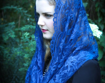 Evintage Veils: Our Lady Queen of Peace Royal Blue  French Lace Infinity Veil Chapel Veil Mantilla