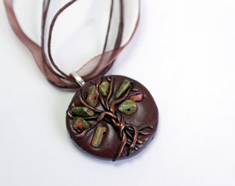 Tree-of-life, unakite necklace, gemstone necklace healing crystal OOAK