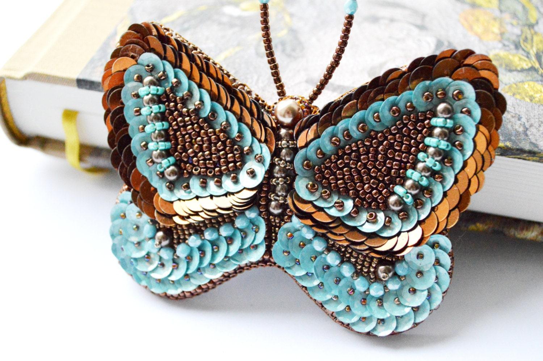 Blue Butterfly Jewelry: Butterfly Brooch Unique Jewelry Blue Brown By MadarasJewelry