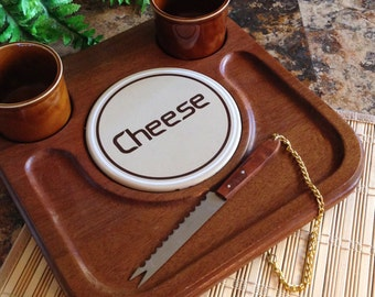 Vintage wood cheese serving tray board with two cups and attached knife