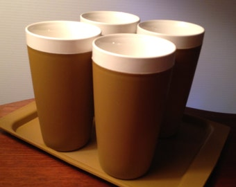 Vintage insulated Therm Ware tumbler glasses with tray by David Douglas