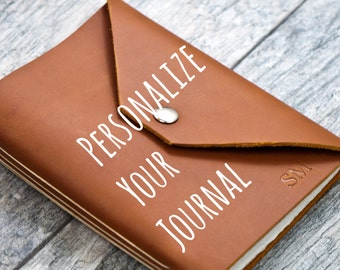 50% OFF - Snap Closure - Personalized Premium Leather Journal with Initials Name Date