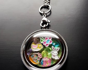 Easter Floating Locket Necklace Set-13 Pieces-Easter Necklace Gift Ideas