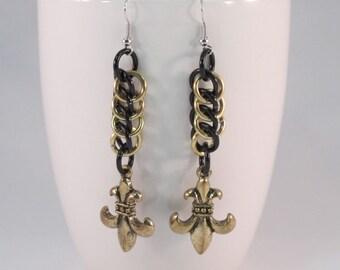 Fleur De Lis Chainmaille Earrings