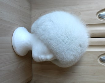 Vintage Real Arctic Snow White Fox Fur Hat, Very Rare, from Canada, Utterly Beautiful H24