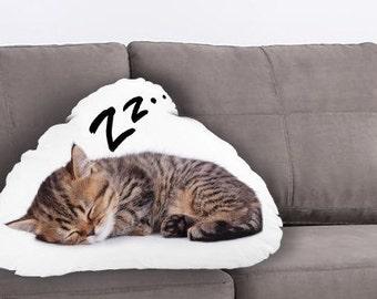 Kitten Printed Pillow - Pet Lover Gift, Cat Print, Linen Cushion, Animal Home Decor