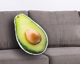 Avocado Slice Printed Pillow, Avocado Lover Gift, Avocado Print, Linen Throw pillow, Toss pillow, Decorative pillow, Food Pillow