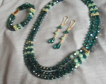 Emerald Green Crystal Three Strand Necklace &  Bracelet and Earrings  Set*****OOAK*****