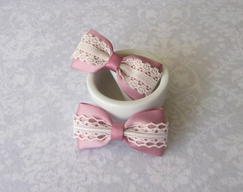 Rosy Mauve Satin & Off-White Ivory Lace Bow, Girls Hair Accessory, Barrette, Ponytail, Clip, Toddler, Flower Girl, School Photos, Dusty Rose