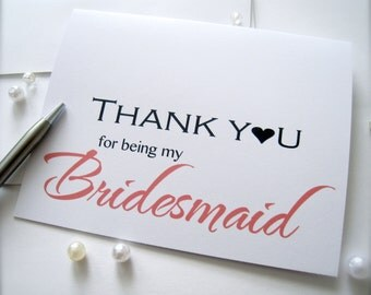 Bridesmaid thank you card, thank you card, card for bridal party, maid of honor card, flower girl card, wedding party thank you,wedding card