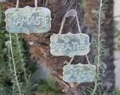Breathe Peace Namaste Sign set handmade ceramic signs wall hanging door hanger home decor yoga sign meditation room gifts under 30
