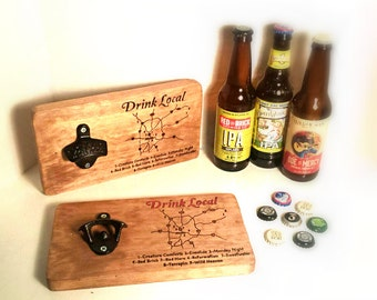 Map of local Georgia Breweries - Hand Engraved- Cast Iron Bottle Opener - Wall Mounted - Drink Local