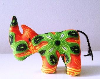 Small stuffed Rhino #0114made by Ugandan Disabled Women