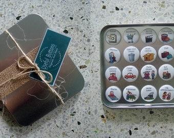 "20 Calendar Magnets Gift Set - Magnet Buttons 1.0"" - Chores"