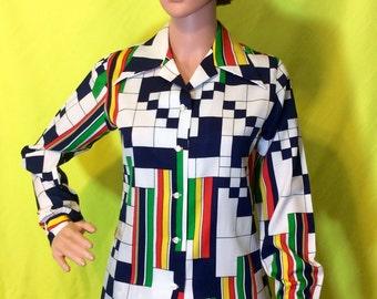 1970s Geometric Long-Sleeved Blouse, S-M