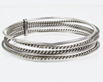 Sterling Silver Bangle Set of 6, Half Twisted, Half Smooth, Vintage, 33.6 grams