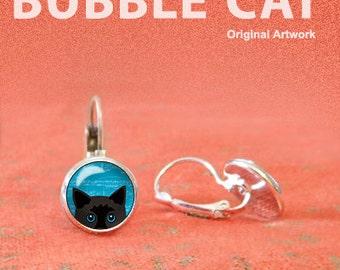 Peeking Black Cat Earrings, Peeking Cat with Blue Eyes