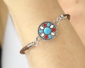 Southwestern Jewelry-Turquoise Flower Bracelet-Turquoise Jewelry-Simple Turquoise Bracelet-Hippie Bracelet-Tribal Sun Bracelet- Gift For Her