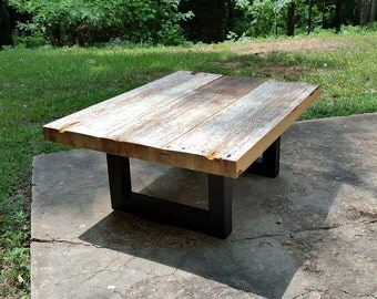 Reclaimed Industrial Beam Coffee Table with Iron Legs!