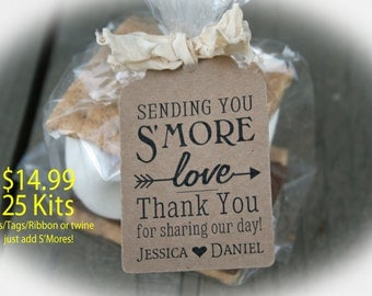 Wedding Favor // Smore Wedding Favor // Smore Favor Tags // Wedding Favor Tags // Smore Favors - Available 3 Tag Colors- BagLG