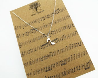 Music Note Necklace - Music Jewellery, Sheet Music, Music Necklace, Silver Dainty Necklace, Music Gift, Musician, Singer - Music Lover