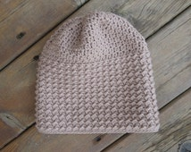 Soft Taupe Slouchy Hat with Textured Design | Women/Teen/Girl/Adult