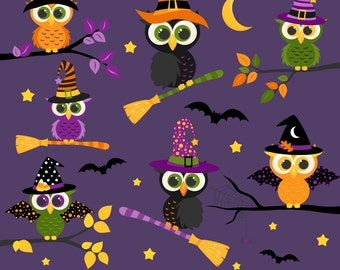 80% OFF SALE Halloween Clipart, Halloween Owls, Owl Clipart, Fall, Printable, Commercial Use